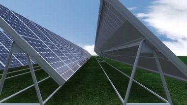 Animation presenting solar panels against blue sky — Stock Video