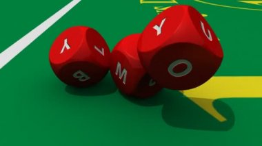 3D rolling red dices against a bright casino background — Stock Video