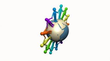 Kleurrijke personages schudden handen rond de aarde — Stockvideo