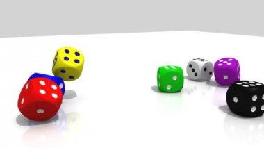 Multicolour 3D dices rolling into a white environment — Stock Video