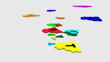 3d strategy puzzle moving into a white space — Stock Video