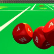 Close-up of 3D rolling red dices against a casino background — Stockvideo