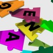 Stock Video: 3d pieces forming teambuilding word