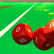 Several 3D red dices rolling into a casino environment — Stockvideo