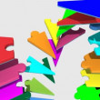 Stock Video: 3d colourful pieces forming cooperation falling