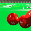 Close-up of 3D rolling red dices against a casino background — 图库视频影像