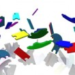 Stock Video: 3d colourful pieces falling showing title teambuilding