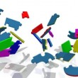 3d colourful puzzle showing title cooperation — Stock Video #15454959