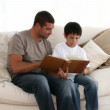Stock Video: Father and son with a book in the sofa