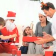 Family with Santa Claus — Stock Video