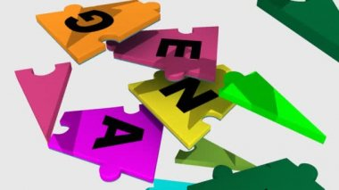 3d pieces forming teambuilding word — Stock Video
