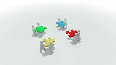 Animation representing a group of 3d men doing a clourful puzzle — Stock Video