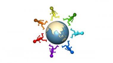 3D multicolour men walking around the earth — Stock Video