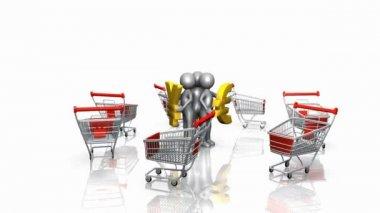 3d lidé chrání sami sebe s měnami od nákupní vozíky — Stock video