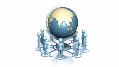 3d-mannen rond een terrestrische globe — Stockvideo