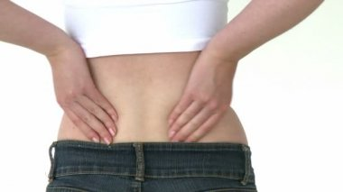 辐射的女人痛苦的背痛 — 图库视频影像