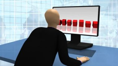 Animation showing 3d man looking at a desktop — Stock Video