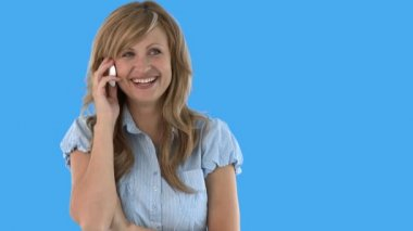 Joyful woman talking on phone — Stock Video