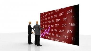 Animation som visar 3d män observera aktiemarknaden på en skärm — Stockvideo