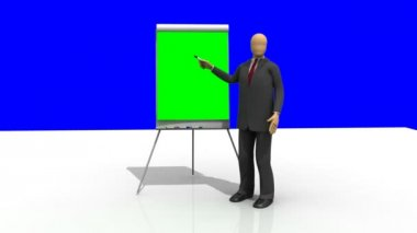 Computer animation showing a 3d-man giving a presentation — Stock Video