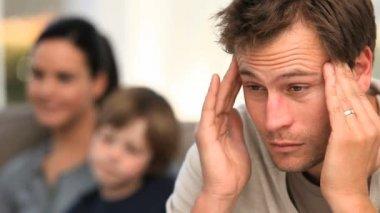 Man suffering from a headache — Stock Video