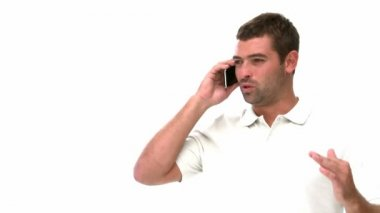 Man talking on the phone — Stockvideo