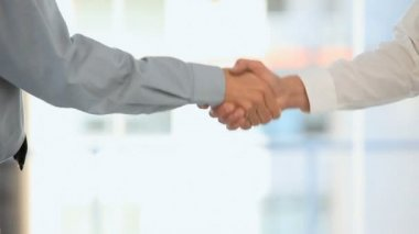 Two businessmen shaking hands — Stock Video