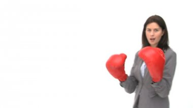 Smiling businesswoman with boxing gloves — ストックビデオ