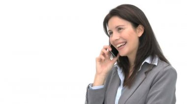 Smiling woman talking on the phone — Video Stock