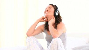 Superb woman listening music — Stock Video