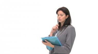 Empresário, escrevendo no caderno dela — Vídeo Stock