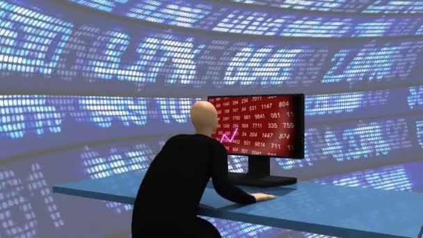 Animation par ordinateur représentant un 3d-homme d'observation de la part de marché — Vidéo