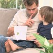 Stock Video: Dad reading story to his son