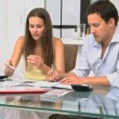 Couple worrying about their bills — Stok video