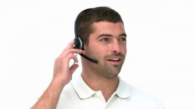 Man talking with headphones — Stockvideo
