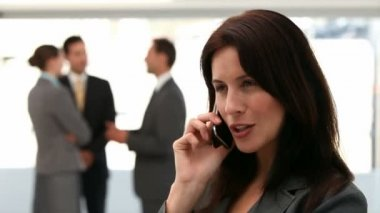30s, Mid Adult, Woman, Female, Caucasian, Man, Male, 20s, Young Adult, Adults, Assertive, Attractive, Background, Beautiful, Boss, Brainstorming, Business, Businessman, Businesswoman, Call, Cellphone, — Stok video