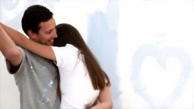 Coppia carina di baciarsi — Video Stock