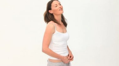 Woman excited by her waistline — 图库视频影像