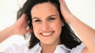 Beautiful woman smiling — Stock Video