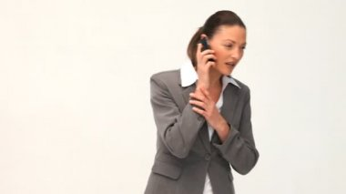Serious businesswoman talking on the phone — Stock Video