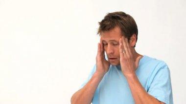 Man having a migraine — Stock Video