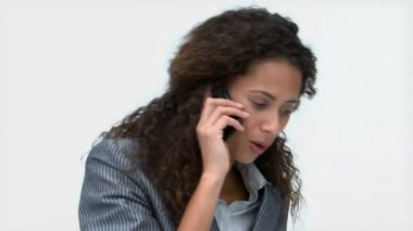 Joyful businesswoman talking on the phone — Stock Video
