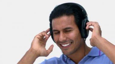 Man listening to music — Stock Video