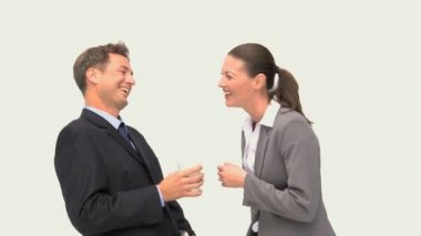 Happy coworkers laughing together — Stock Video