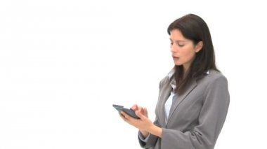 Businesswoman using a computer tablet — Stock Video