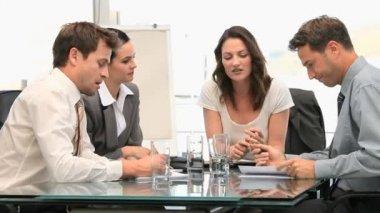 Teamwork during a meeting — Stock Video