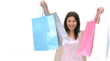 Happy woman with shopping bags — Stock Video