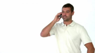 Happy man talking on the phone — Stock Video