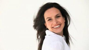 A beautiful women smiling — Stock Video