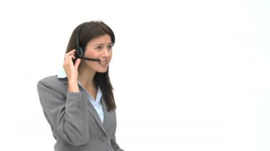 Businesswoman on the phone with earpiece — Stock Video